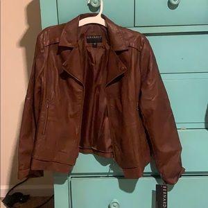 NWT XL Bernardo brown leather jacket.
